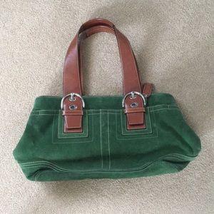 Green suede coach bag
